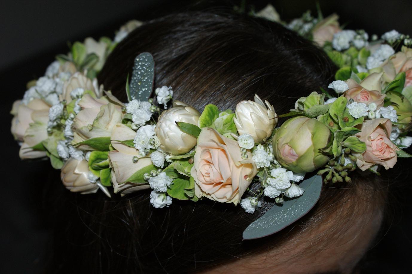 Hochzeit blumen kopfschmuck kranz rosen weiss rosa gruen for Raumgestaltung hochzeit